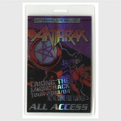 Anthrax authentic 2003-2004 concert tour Laminated Backstage Pass