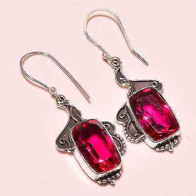 """Faceted Rubellite Tourmaline 925 Solid Sterling Silver Earrings 2.00""""   Md3450"""