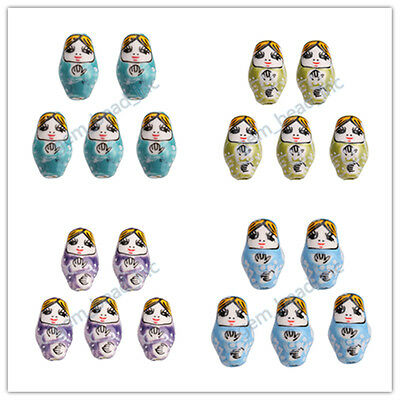 10pcs Handmade 22x13mm Porcelain Russian Nesting Doll Jewelry Beads 2.2mm Hole