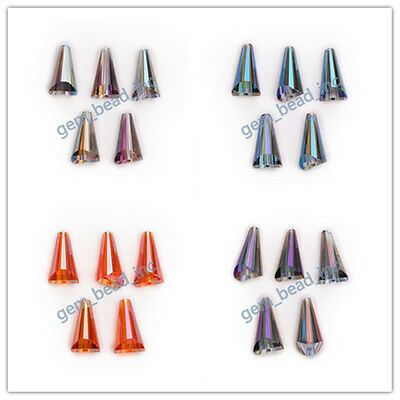 10/20pcs Faceted Pagoda Bottle Cap Teardrop Glass Crystal Spacer Beads 10x20mm