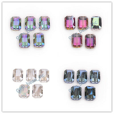 Rectangle Charm Crystal Glass Charms Beads 26x18mm Spacer Loose Findings