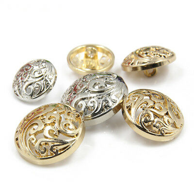 5Pcs Metal Round Hollow Shank Buttons Gold Silver Plated DIY Sewing Suit Decor