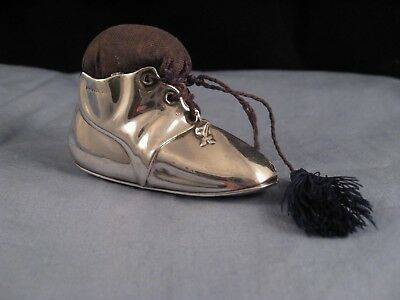 Lovely Antique Edwardian Sterling Silver Figural Shoe Boot Sewing Pin Cushion