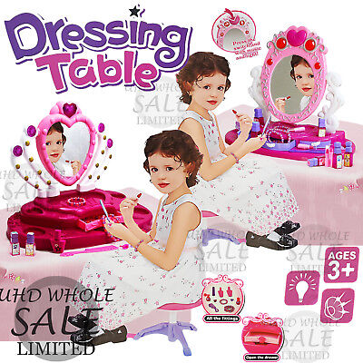 Kids Girls Princess Glamour Mirror Dressing Play Vanity Table Set Makeup Toy