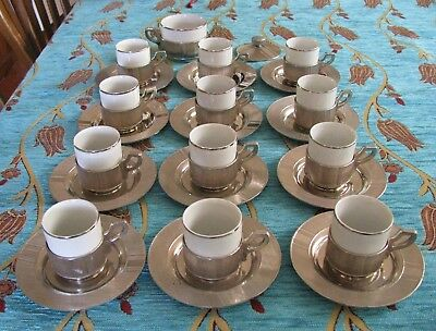 Set Of 12  Retro 800 Purity Italian Sterling Silver Holders & Saucers/Sugar Hold