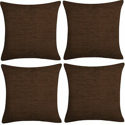 "4 x Luxury Plain Chenille Cushion Cover Soft Covers 43 x43cm, 17x17"", Chocolate"