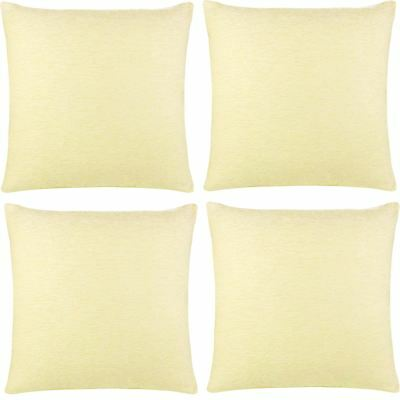 "4 x Luxury Plain Chenille Cushion Cover Soft Covers 43 x43cm, 17x17"", Cream"