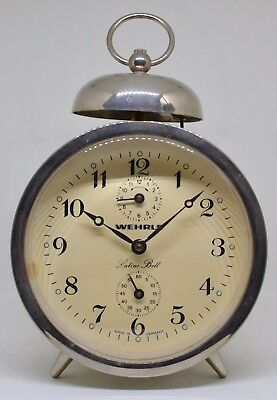 An Unusual Wehrle German Made Lutine Bell Alarm Clock in a Chrome Case c.1990