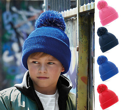 Kids Boys Girls Childrens Reflective Bobble Hat Warm Cosy for Winter Pom Beanie