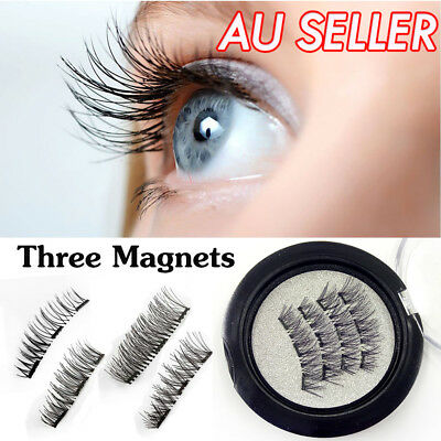 4 Pcs 3D Triple Magnetic False Eyelashes Handmade No Glue Extension Eye Lashes