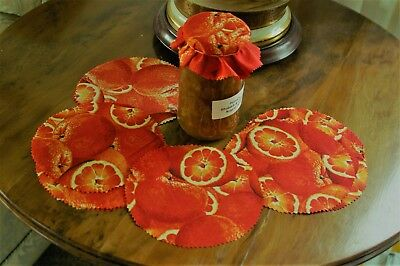 'ORANGES' FABRIC JAM JAR POT COVER FOR MARMALADE etc,LABELS,BANDS & FREE POST
