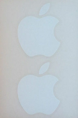 Apple Logo Stickers Genuine Apple Stickers x 2 White 1ST Class P&P