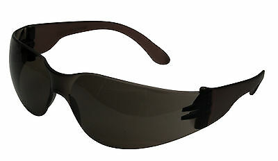 COMET Deluxe SMOKE Lens Wraparound Safety Work Cycling Glasses Sunglasses Specs