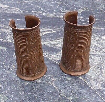 Fine Pair West African Antique Nigerian Igbo Engraved Copper Armlets Not Bangles
