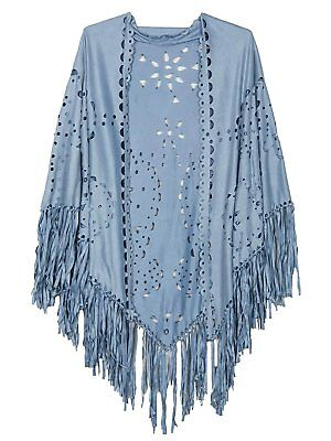 Persun Coffee Suedette Laser Cut Fringed Cape Shawl Wrap Scarf , Light Blue, One