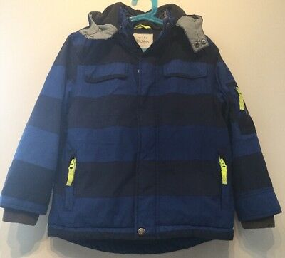 Mini Boden Boys Blue Striped Waterproof, Fleece Line Coat/Snow Jacket Age 6-7