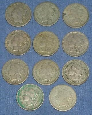 Collection 11 Us (3) Three Cent Nickel Coins 1865, 67 69, 71, 75, 81, & 1886