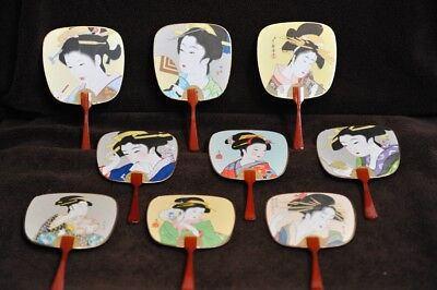 Set of Nine (9) Vintage Japanese Paper Fans with Geisha