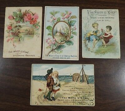 4 White Sewing Machine Trade Cards        #111506