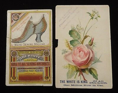 2 White Sewing Machine Trade Cards        #111514