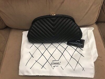 338bab4ac6baa3 Authentic Chanel Timeless Clutch in Black Lambskin Quilted leather w/ gold