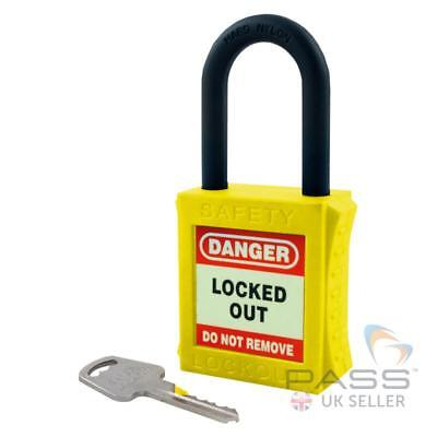 Insulated / Lockout Padlock - NYLON Shackle - Key Different (Yellow)