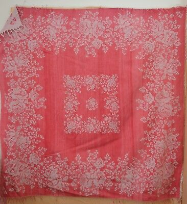 Beautiful Vintage Antique Double Sided Damask Cloth Shawl Throw Textile Tt349