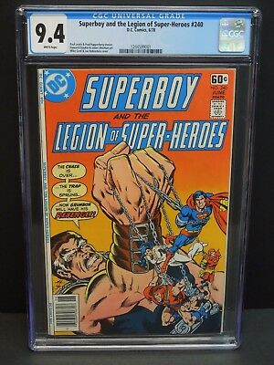 Dc Comics Superboy And The Legion Of Super-Heroes #240 1978 Cgc 9.4 White Pages