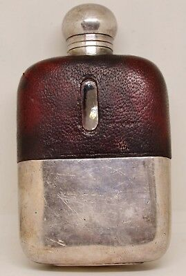An Antique James Dixons Silver Plated EPBM & Leather Hip Flask 3/32 Pint c.1920