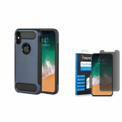 For Apple iPhone X/XS Hybrid Rubber Case Blue (+ Anti Spy Privacy Glass Screen)
