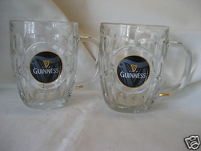 2 GUINNESS DIMPLED HARP LABEL 20 oz. GLASS LUMINARC TANKARDS STEINS MUGS NICE!