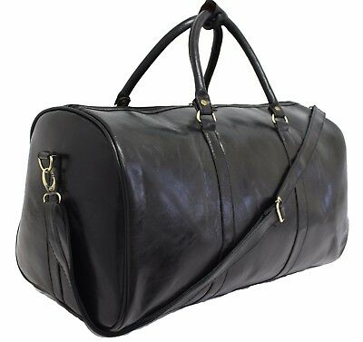 Large Italian Leather Style Holdall Luggage Weekend Duffel Cabin Travel Bag Case