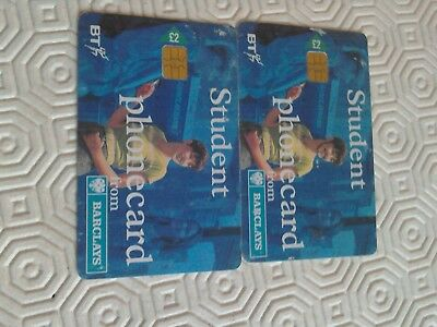 2 X Student Phone Card of BT from Barclays collectabel