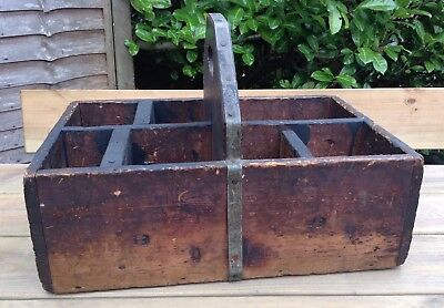 Old Vintage Antique Pine Large Solid Shoe Shiners Working Trug Tool Kitchen Tray