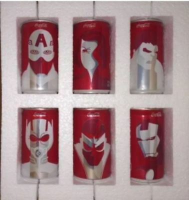 (6) Coke Marvel Mini Avengers Coca Cola Cans Rare Limited Complete Set Free Ship