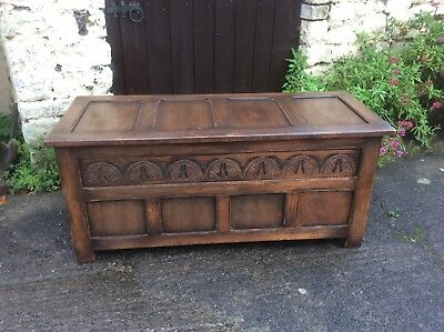 Vintage Oak Carved Panelled Coffer/Blanket Box