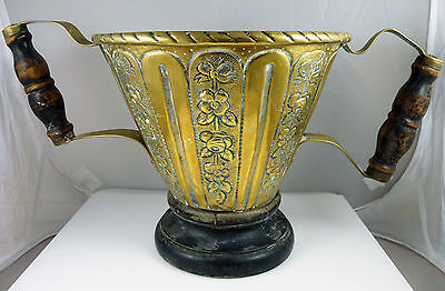 Antique Victorian Large Brass Loving Cup Trophy / Planter