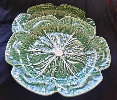 """Lot of 2, Bordallo Pinhiero Green Cabbage Dinner / Charger Plate 12""""  MINT PAIR"""