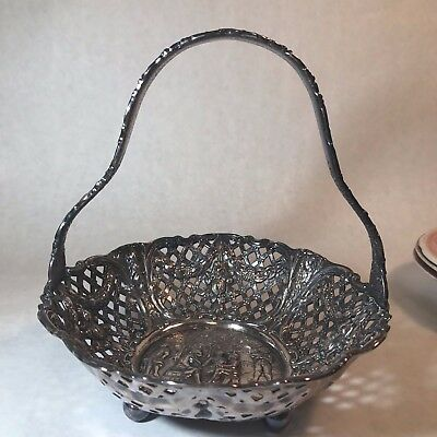 Buttery & Impeccable Antique Silver Wedding Basket Repousse Reticulated