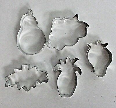 Lot of 5 FRUIT Cookie Cutters - Pear, Grapes, Pineapple, Strawberry + Leaf (?)