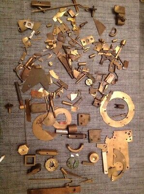 Clockmakers Brass Scrapbox Contents From Collection Of Spare Parts