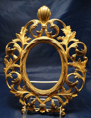 "Antique Brass Plated 11"" Tall Metal Ornate Rococo Frame, no stand"
