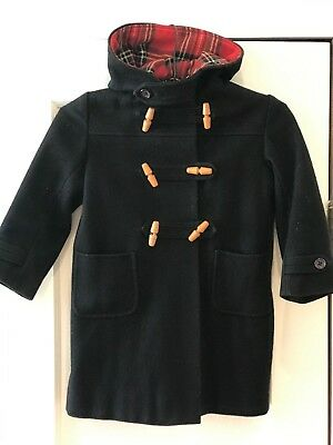 Vintage Navy Harrods London, England Boys Wool Blend Hooded Toggle Coat Size 5/6