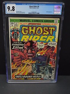 Marvel Comics Ghost Rider #9 1974 Cgc 9.8 Ow/wp Inferno Appearance