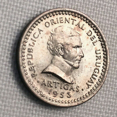 1953-I Uruguay 1 Centesimo UNC - Only Year of Issue #CH67