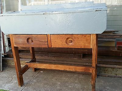 Rustic wooden workbench/bench/work table vintage industrial hall stand shabby
