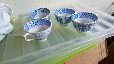 Chinese? 4 x Blue and White Tea Cups