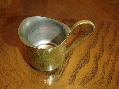 Small Vintage Decorative Solid Brass Cream Pitcher Silver Washed