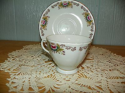 Pretty Floral Tea Cup with Matching Saucer Made in China
