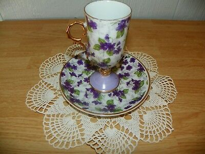 Vintage Tea Cup with matching saucer Purple Floral E837